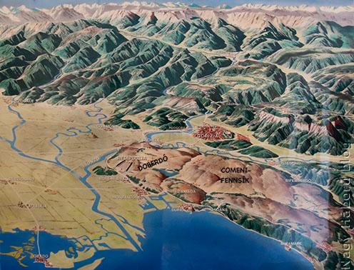 Az Adria északi medencéjének domborzati térképe a Doberdóval
