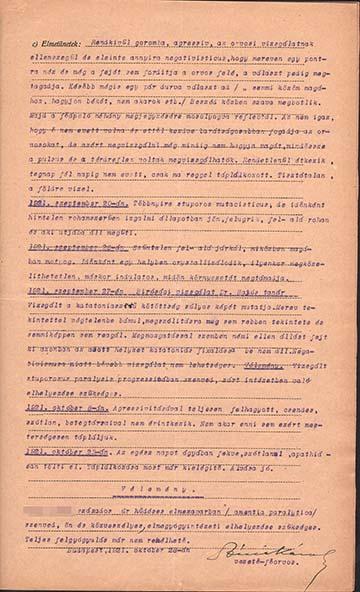K. Zoltán kórrajzának részlete