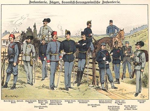 Osztrák–magyar gyalogosok 1898-ban egy képeslapon