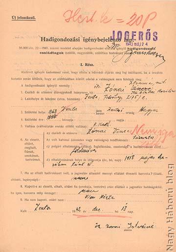 A zentai származású Zónai Vince iratait tartalmazó hadigondozási dosszié fedőlapja