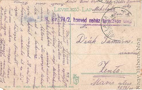 Zónai Vince utolsó, 1918. február 13-án írott képeslapja. A képeslap hátoldala