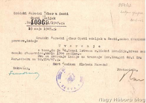 A zentai Népbizottság 1947. május 19-ei keltezésű, szerb nyelvű bizonylata arról, hogy özv. Zónai Istvánné szül. Kis Bicskei Rozália 1944-ben elhunyt