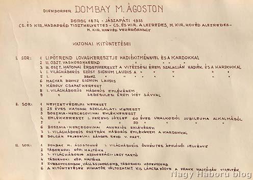 A blogról is ismert Diendorfer (Dombai) Ágoston kitüntetései és ezek leírása a családi hagyatékban