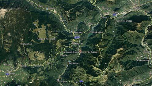 Cismon del Grappa és környéke műholdas felvételen