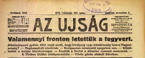 """""""Az Ujság"""" 1918. november 2-i címlapja"""