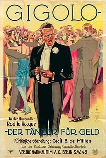 """""""Fizetett táncos"""" – A Gigolo című 1926-os amerikai film németországi plakátja"""