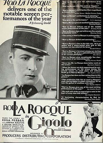 Az 1926-ban bemutatott Gigolo című amerikai filmben francia tisztből lesz bértáncos