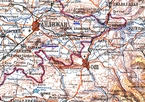 Os napjainkban Kirgizisztánhoz tartozik, Andizsán és az említett falvak már Üzbegisztán területén találhatók. A Kara-Darja a két ország közötti határfolyó