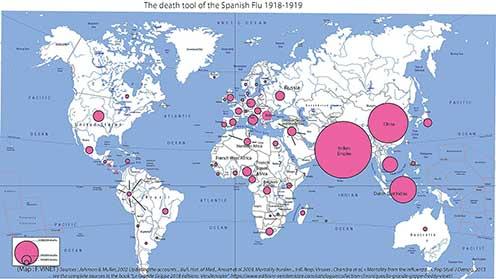 A spanyolnátha-járvány a világban