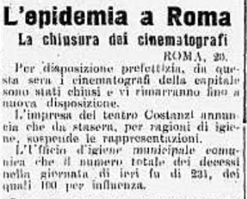 Tudósítás a római mozik bezárásáról