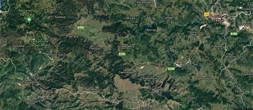 Vardiste Mokra Gora és Uzsice elhelyezkedése a térképen