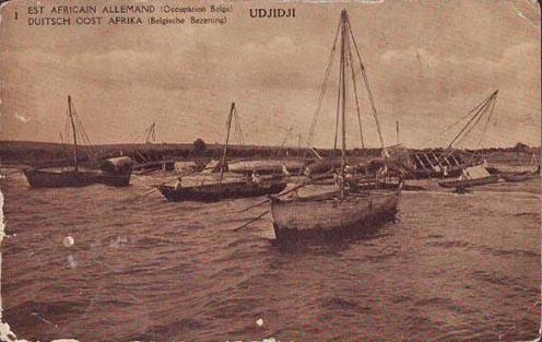 Ujiji kikötője a Tanganyika-tó partján. Német Kelet-Afrika