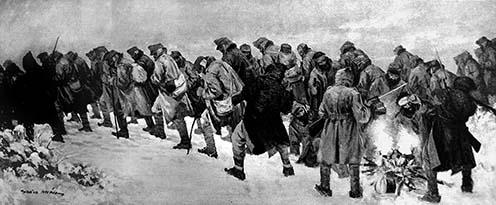 Osztrák–magyar hadifoglyok menete az albán hegyekben