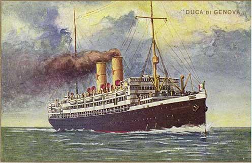 Az 1907-ben épült, 7893 bruttó regisztertonnás, 145 m hosszú és 16,3 m szélességű SS Duca di Genova olasz hajó korabeli képeslap ábrázolása. Ez a hajó szállította a legtöbb hadifoglyot (3141 fő), s legtöbben ezen haltak meg (300 fő). 1918-ban hullámsír nyelte el