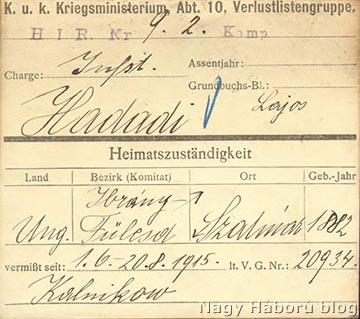 Eltűntek regisztrálására szolgáló karton a bécsi Hadilevéltárból