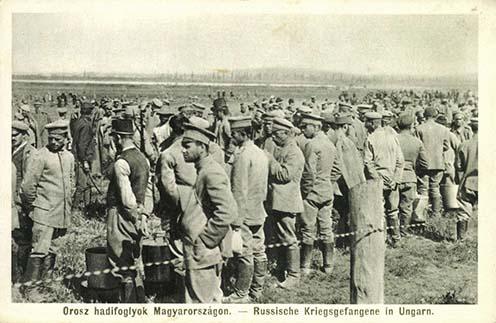 Orosz hadifoglyok Magyarországon, korabeli képeslap