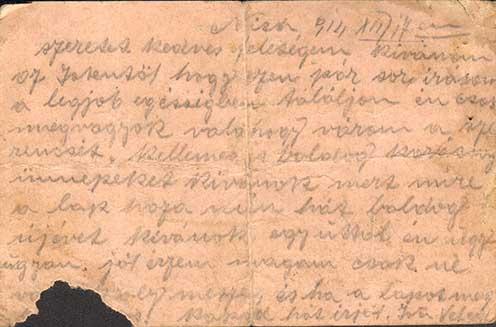Major Jánosnak a niši hadifogolytáborból 1914. december 17-én írt lapja