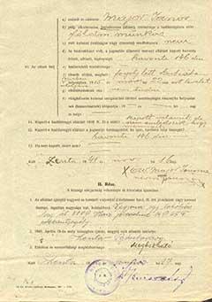 Major János özvegyének hadigondozási igénybejelentő lapja 1941-ből