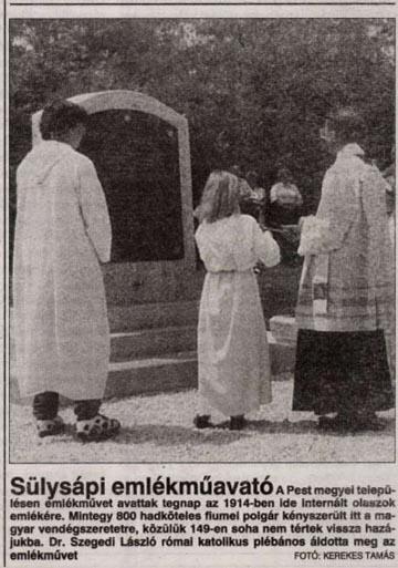 Az Új Magyarország tudósítása az emlékmű felavatásáról a lap 1996. június 1-jén megjelent számában