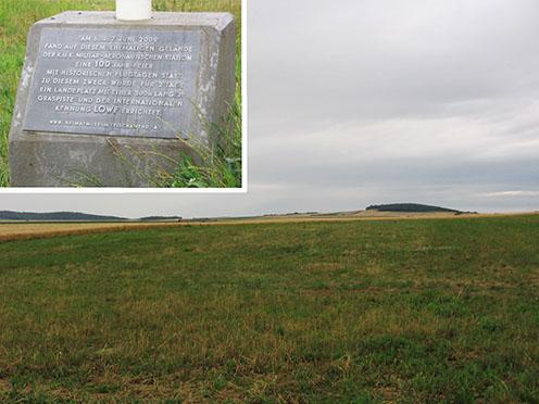 Az egykori füves kifutópálya ma is megtalálható. A kép bal sarkában a 2009-ben állított szélzsákos emlékoszlop felirata látható
