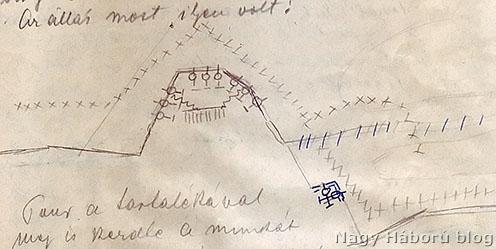Az erődített állás a Korumkón – Damó Elemér saját kezű rajza a visszaemlékezés kéziratában