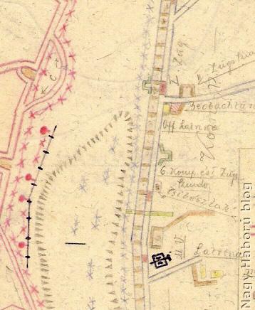 A terület Kókay László által készített térképvázlata középen a tiszti latrina