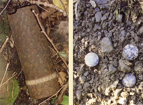 Srapnel hüvely és golyók napjainkban az egykori olasz fronton, a Mrzli vrh oldalában
