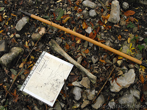 Combcsont maradvány a temető helyén