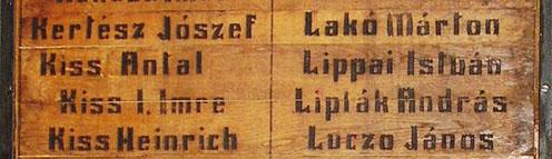 Kiss Imre és Lippai István neve a fatáblán