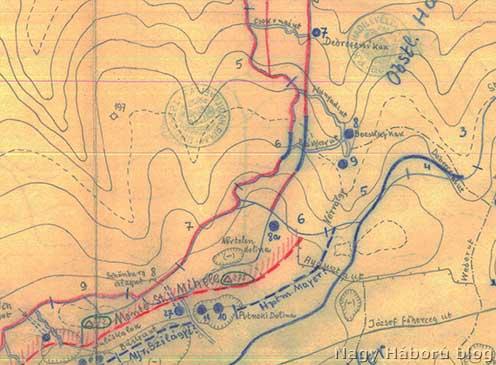 A Putnoky-dolina, a Névtelen dolina és a Vérvölgy az 1916 augusztusi vázlaton