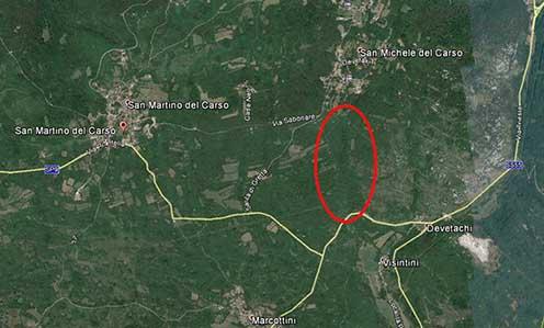 A terület mai műholdas térképvázlaton