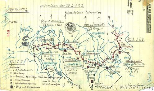 A m. kir. 20. honvéd hadosztály állásai Hegyzávodtól délre 1915 májusának első napjaiban