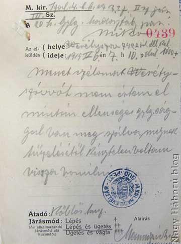 1915. május 6-án délután 7 óra 10 perckor kelt huszár járőr jelentés a Weretyszow orosz megszállásáról