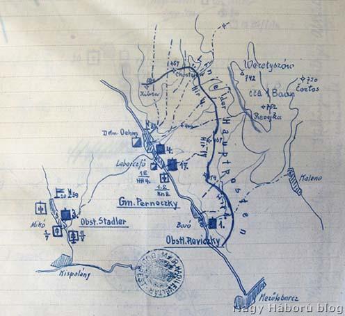 Az ezredek 1915. május 6-ról 7-re virradóra történt éjjelezéséről készült vázlat a tábori őrsök vonalának a jelölésével