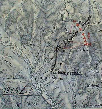 A nagyváradi 4. honvéd gyalogezred 8. századának támadási iránya