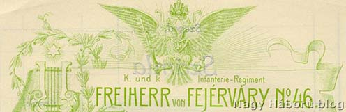 Az ezred hivatalos megnevezése papagáj zölddel nyomtatva zenekarának egyik műsorlapjáról
