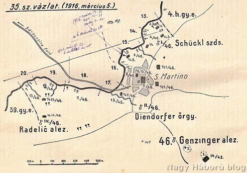 A szegedi 46-osok védelmi szakasza San Martino előterében 1916 tavaszán