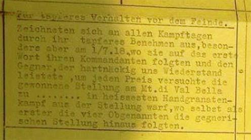 """A Monte di Val Bellán megszolgált """"kisezüst"""" német nyelvű indoklása"""