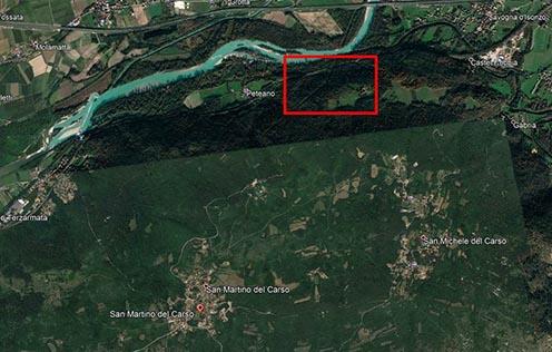 A vizsgált terület mai Google térképen