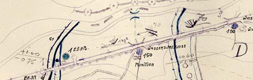 A műút és a vasúti töltés közötti terület egy 1916 júliusában készült vázlaton
