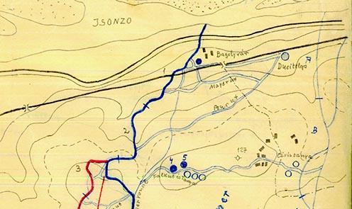 Részlet egy 1916. júliusi helyzetről készített vázlatról