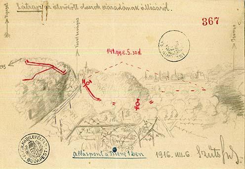 Látkép melléklet Szűts százados jelentéséhez arról a helyről, ahol átszöktek az olaszok