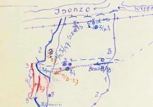 Helyzet 1916. augusztus 6-án az esti órákban. Pirossal jelölve az ellenség által elfoglalt magyar állások