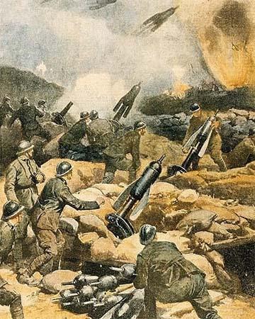 """Olasz aknavetők korabeli képeslapon, amelyeket a hangja után a magyar katonák """"macskának"""" neveztek"""