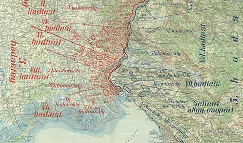 Az olasz és osztrák–magyar alakulatok helyzete az Isonzó alsó szakszán 1916. augusztusának elején
