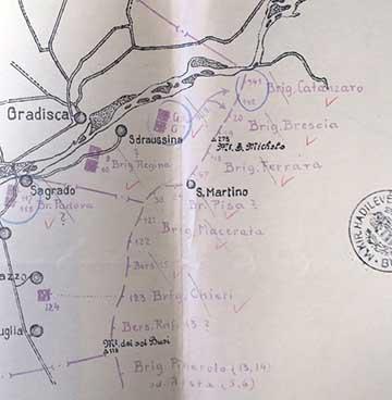 A támadó olasz csapatok elhelyezkedése a 6. isonzói csata előtt