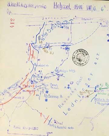 Vázlat a Biene 3. és Biene 4.-ről 1916. augusztus 6-án délután 6 órakor