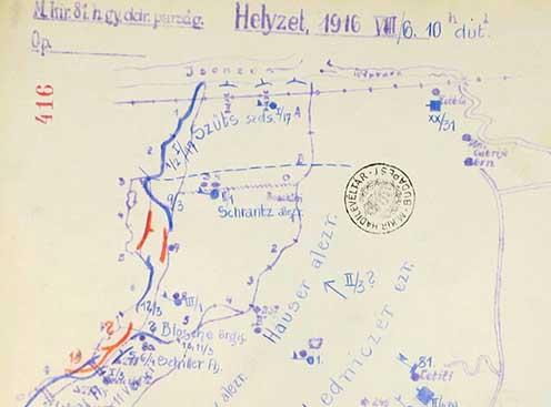 Vázlat a Biene 3-ról 1916. augusztus 6-án este 10 órakor