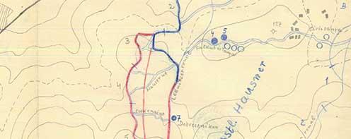 A 3. védelemi szakaszhoz és a nagyváradi emlékgúlához vezető egykori Hauser út a korabeli térképeken