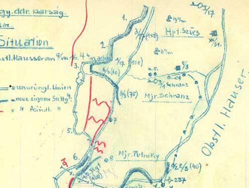 Vázlat a Biene 3-ról 1916. augusztus 7-én délután